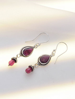 Silver Earrings with Red Agate
