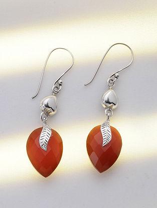 Silver Earrings with Carnelian