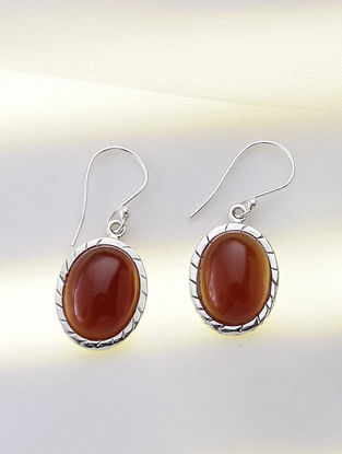 Silver Earring with Carnelian