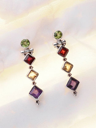 Silver Earrings with Peridot, Garnet, Amethyst and Citrine