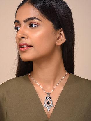Garnet Silver Pendant with Chain
