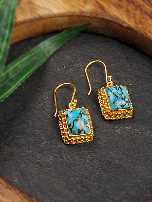 Gold Tone Silver Earrings with Turquoise