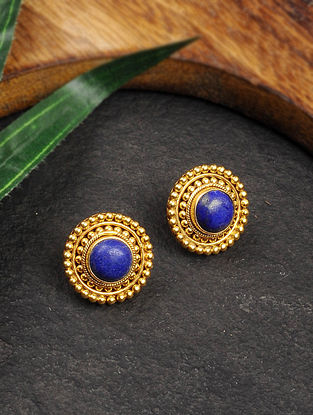 Gold Tone Silver Earrings with Lapis Lazuli