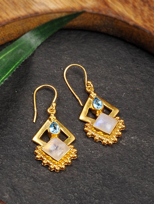 Gold Tone Silver Earrings with Blue Topaz and Rainbow Moonstone