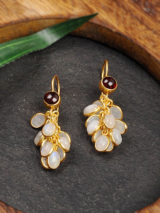 Gold Tone Silver Earrings with Rainbow Moonstone and Garnet