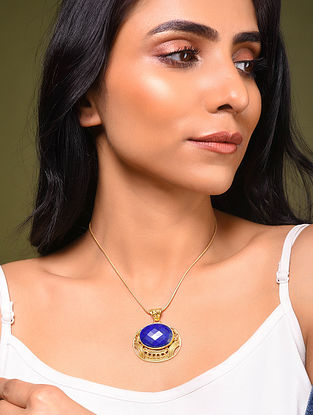 Lapis Lazuli Gold Tone Silver Pendant with Chain