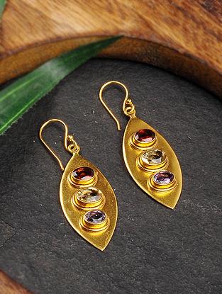 Multicolored Gold Tone Silver Earrings