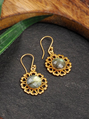 Gold Tone Silver Earrings with Labradorite