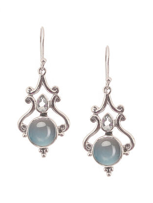 Blue Chalcedony and Topaz Silver Earrings