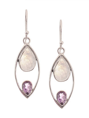 Rainbow Moonstone and Amethyst Silver Earrings