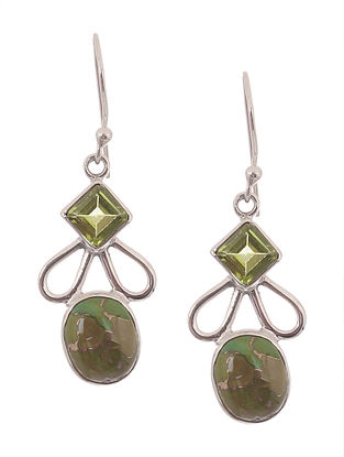 Green Turquoise and Peridot Silver Earrings