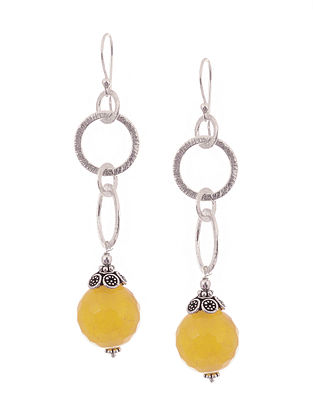 Yellow Chalcedony Silver Earrings