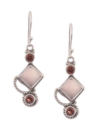 Chalcedony and Garnet Silver Earrings