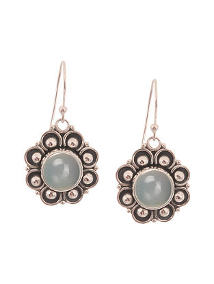 Blue Chalcedony Silver Earrings