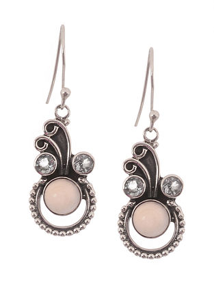 Pink Chalcedony and Blue Topaz Silver Earrings