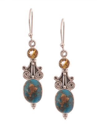 Turquoise and Citrine Silver Earrings