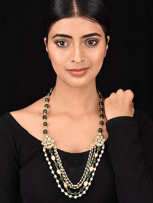 Green Gold Tone Kundan Jade and Pearl Beaded Necklace