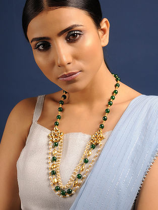 Green Gold Tone Kundan Jade and Pearl Beaded Necklace