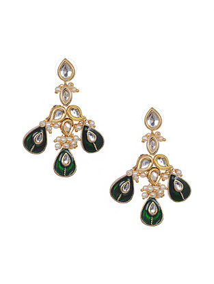 Green Gold Tone Meenakari Earrings with Pearls