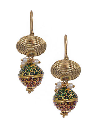 Red Green Gold Tone Meenakari Earrings with Pearls