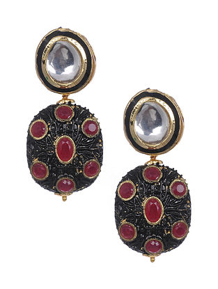 Maroon Gold Tone Polki Earrings