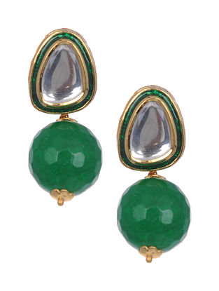 Green Jade Gold Tone Polki Earrings