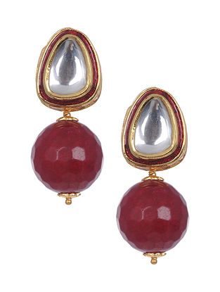 Maroon Jade Gold Tone Polki Earrings