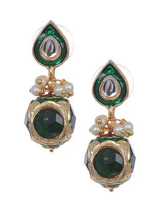 Green Gold Tone Meenakari Earrings with Pearls