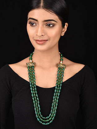 Green Gold Tone Jade Beaded Meenakari Necklace