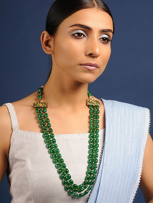 Green Gold Tone Jade Beaded Meenakari Necklace