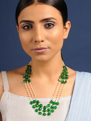 Green Gold Tone Jade and Pearl Beaded Necklace