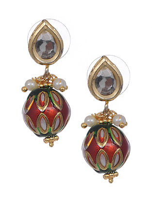 Red Green Gold Tone Meenakari Earrings with Pearls