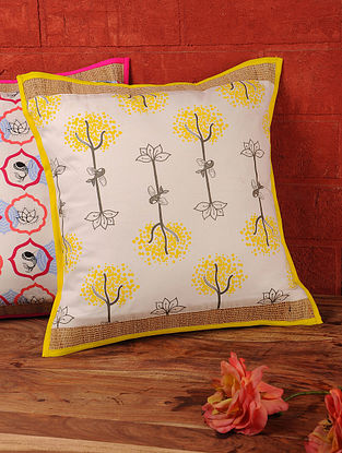 White-Multi-Color Roots and Wings Cotton Jute Cushion Cover by Olie 16in x 16in