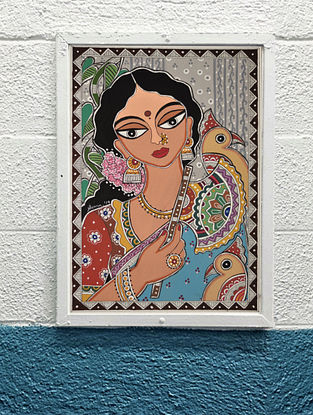 Lady And Her Cockatoos Multicolor Handmade Madhubani Artwork Print On Paper (12in X 8in)