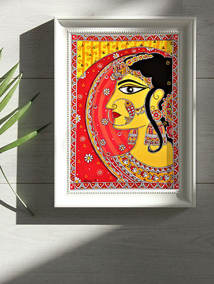 indian Princess Multicolor Handmade Madhubani Artwork Print On Paper (12in X 8in)