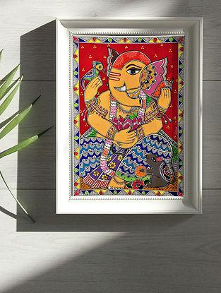 Lord Ganesha Multicolor Handmade Madhubani Artwork Print On Paper (12in X 8in)