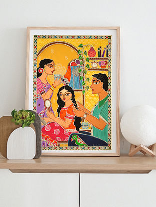 Happy Household Multicolor Handmade Madhubani Artwork On Paper (12In X 8In)