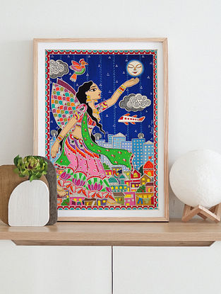 Cinderella Multicolor Handmade Madhubani Artwork On Paper (12In X 8In)