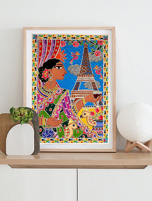 Eiffel Tower Multicolor Handmade Madhubani Artwork On Paper (12In X 8In)