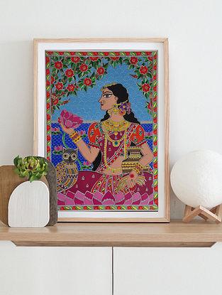 La Xmi Goddess Multicolor Handmade Madhubani Artwork On Paper (12In X 8In)