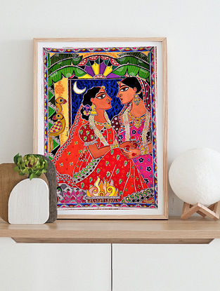 Just Married Multicolor Handmade Madhubani Artwork On Paper (12In X 8In)