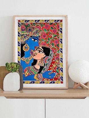 Radha And Krishna Multicolor Handmade Madhubani Artwork On Paper (12In X 8In)