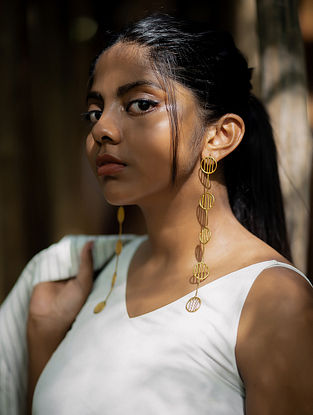 Dull Gold Handcrafted Brass Earrings