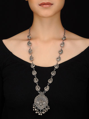 Antique Silver Handcrafted Brass Necklace with Ghungroo