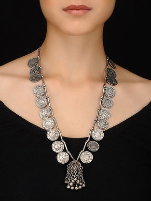 Antique Silver Handcrafted Brass Necklace with Coins and Ghungroo