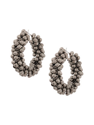 Tribal Silver Tone Hoop Earrings
