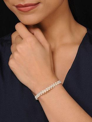 Pearl Beaded Silver Tone Bracelet