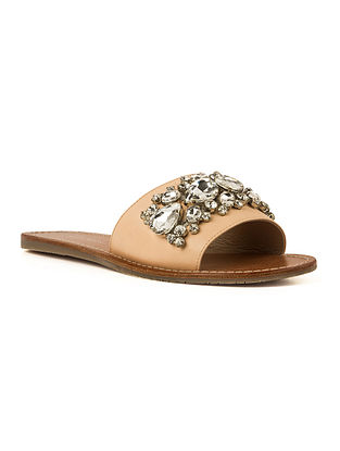 Beige Handcrafted Embellished Leather Flats