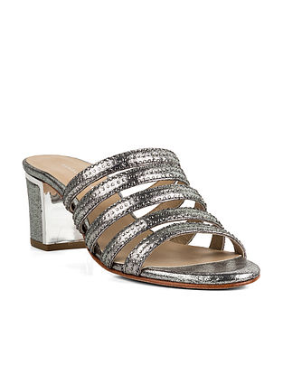 Silver Handcrafted Metallic Block Heels