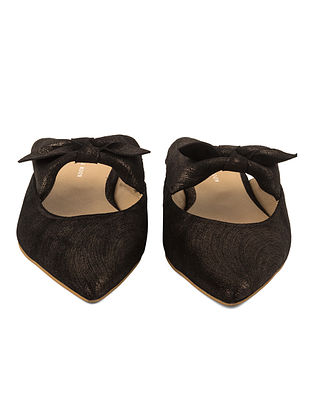 Black Handcrafted Metallic Leather Mules
